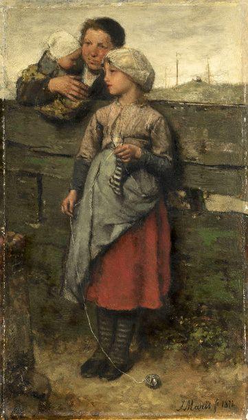 Villagers-Jacob Henricus Maris (1837 – 1899, Dutch)