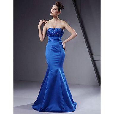 Trumpet / Mermaid Strapless Floor-length Satin Bridesmaid/ Wedding Party Dress – USD $ 99.99