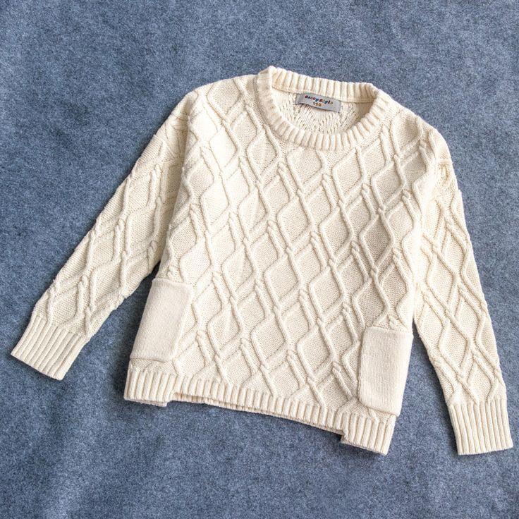 Девочка пуловеры свитер осень и зима детская сплошной цвет o шея широкий вязаные топы витая девушки свитера BC333 купить на AliExpress