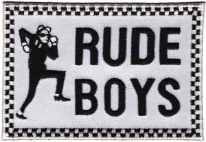 "Rude Boys Rectangle Black & White Embroidered Patch - Approx 3.75"" *All Embroidered patches can either be sewn or ironed on"
