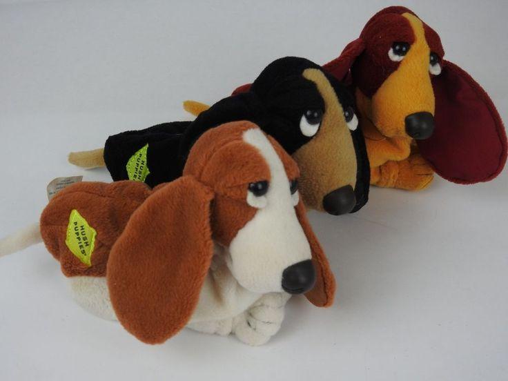 "Lot of three 6"" Hush Puppies Applause Plush Bassett Hound Dog Bean Bag  #Applause"