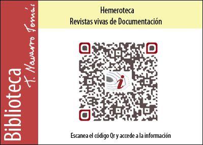 Hemeroteca: Código QR de acceso a la colección de revistas vivas de Documentación, de la Biblioteca Tomás Navarro Tomás.