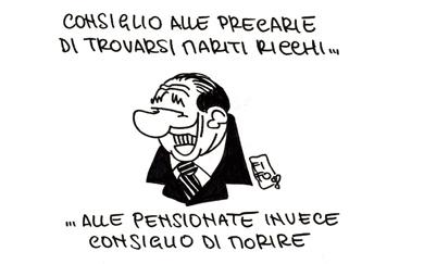 I fallocentrici e la soluzione al precariato: avere un bel sorriso per sposare un milionario (Berlusconi a una ragazza precaria)