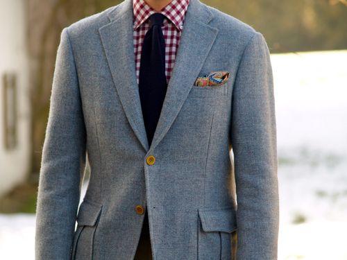 finamoria: babyblue tweed + flannel shirt + navy cashmere knit tie #D´Avenza #Truzzi #Zenga