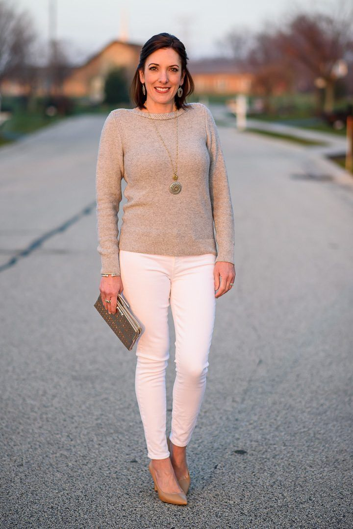 f54ca7602553 Fashion Over 40 Holiday Style: I'm styling a simple silver and white outfit  that is perfect for more casual holiday events when you want to look  festive, ...
