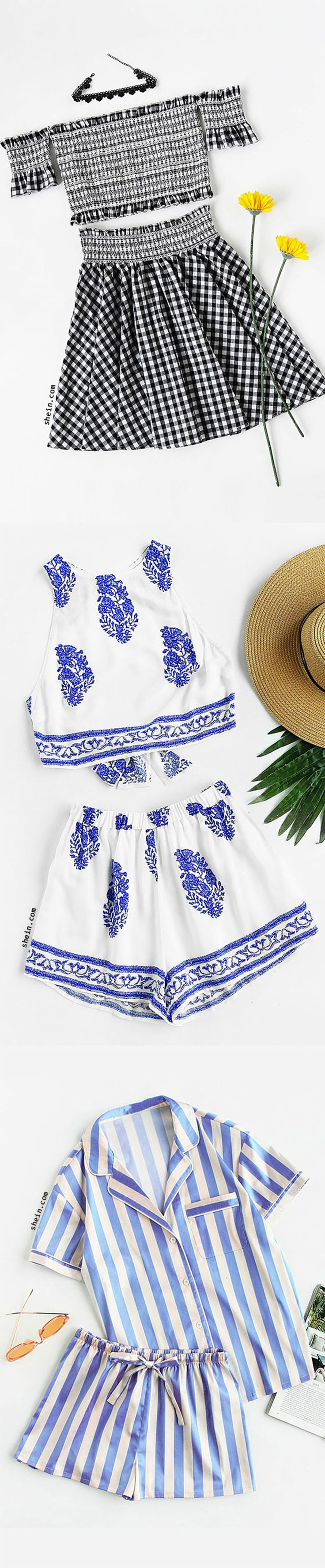 Frilled embroidered smocked bardot top and skirt set & Piping detail pocket front shirt and shorts pajama set & Bow tie open back crop tank yop snd shorts set