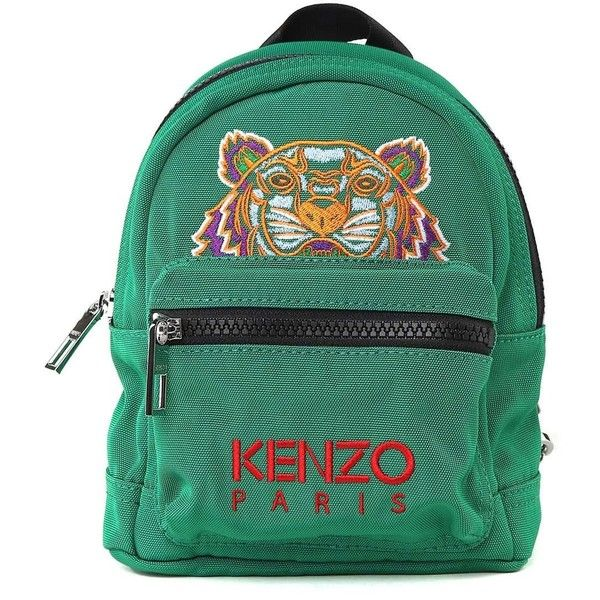 Kenzo Kenzo Mini Tiger Nylon Backpack ($160) ❤ liked on Polyvore featuring bags, backpacks, verde, green backpack, embroidered backpack, nylon bag, miniature backpack and nylon backpack