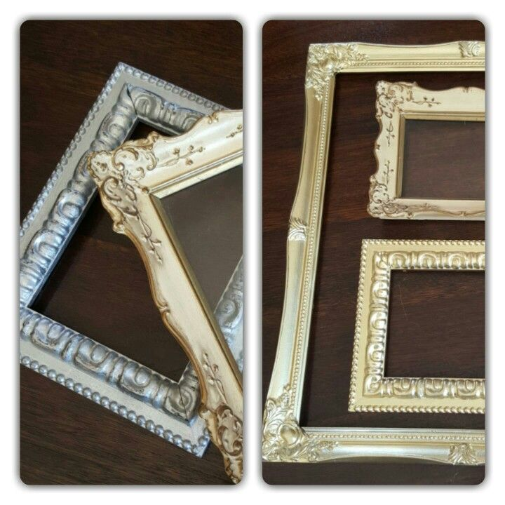 DIY old frames spray painted in gold