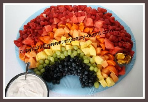 MAKE this RAINBOW FRUIT TRAY for a Bridal Shower, Wedding Shower or a Baby Shower! Here is step-by-step instructions! Shower --> Rainbow :)