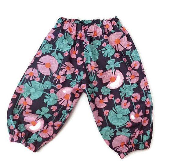 TODDLER GIRL HAREMS floral harem pants pink and by TwoBlackRabbits