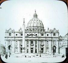 c1890 Around the World #36 of Set,  St. Peters Basilica Rome Photo Lantern Slide