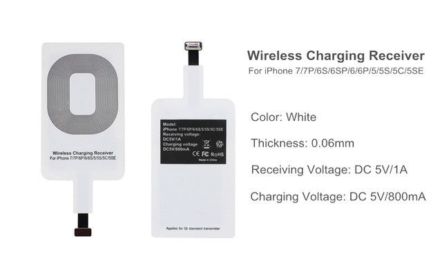 For iPhone 6 6S 6plus 7 7plus 5 5S 5C Wireless Charger Receiver Patch Module QI Standard Wireless Receiving Charging Patch A20