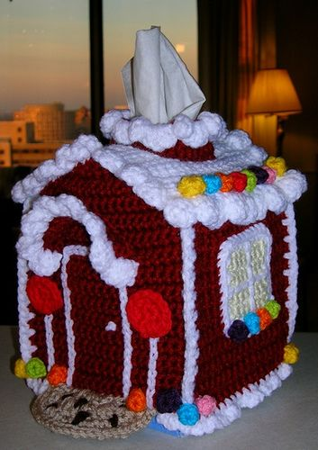 Gingerbread house tissue box cover! YES!! gotta make this!  Diane, you gotta do this one!!