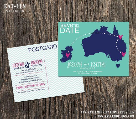Australia  Wedding Save the Date  Destination by katleminvitations