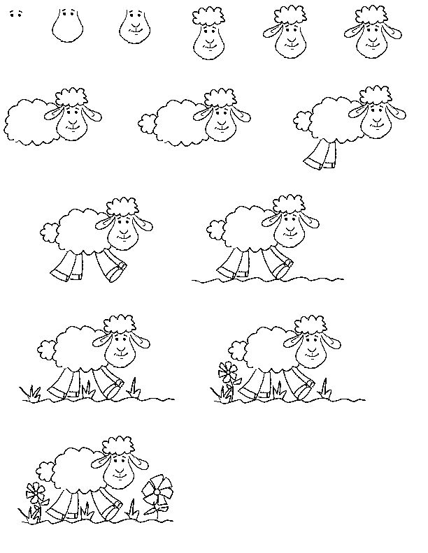 cartoon critters - learn to draw lessons.  How to draw a cute sheep.