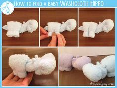 Great tutorial on how to fold a baby washcloth hippo. This is easy to understand.