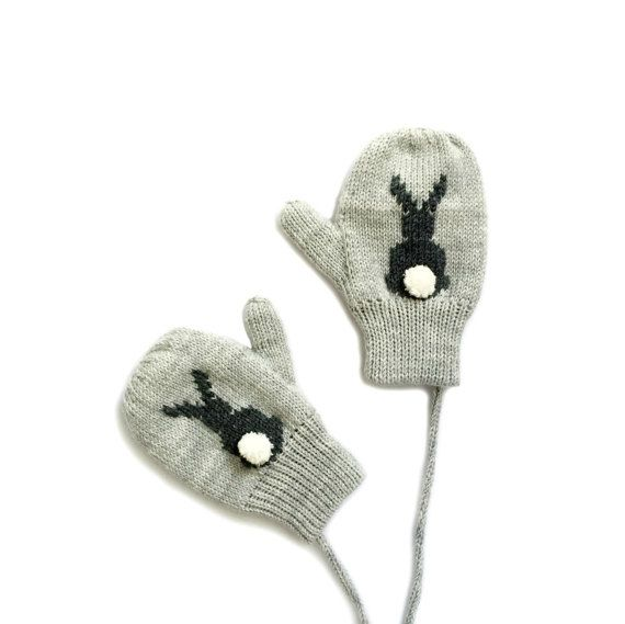 Knitted bunny mittens. Grey mittens with bunny and pompom tail. Grey Bunny Mittens | Sizes Newborn to 3 years