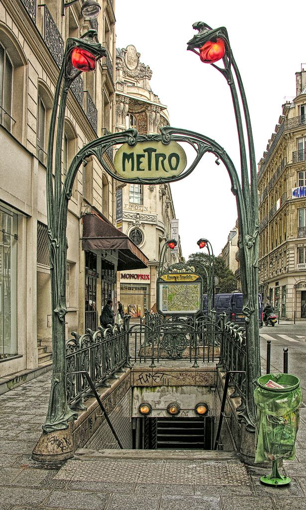 France. Art Nouveau Entrance to the Paris Metro at Reaumur-Sebastopol, 1904  by Hector Guimard (French, 1867-1942) //  Photo by Eric Parker | Flickr