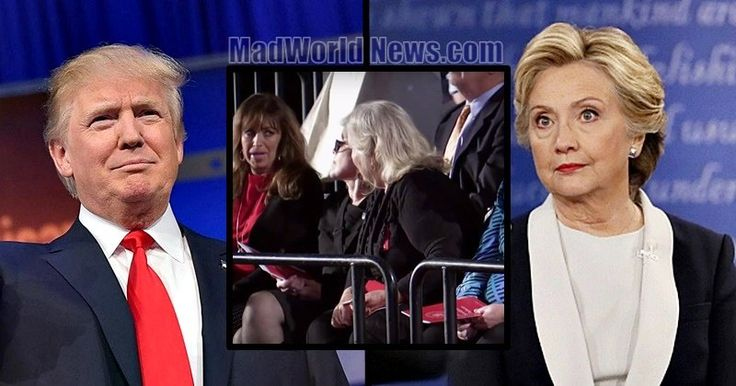 Hillary Slams Trump's Treatment Of Women, Then Sees Who's Sitting In Front.. BURN TRUMP YOU ARENT FIT FOR THE PRESIDENT JOB