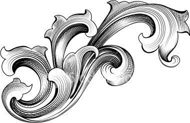 Baroque Leaf Ornament Royalty Free Stock Vector Art Illustration