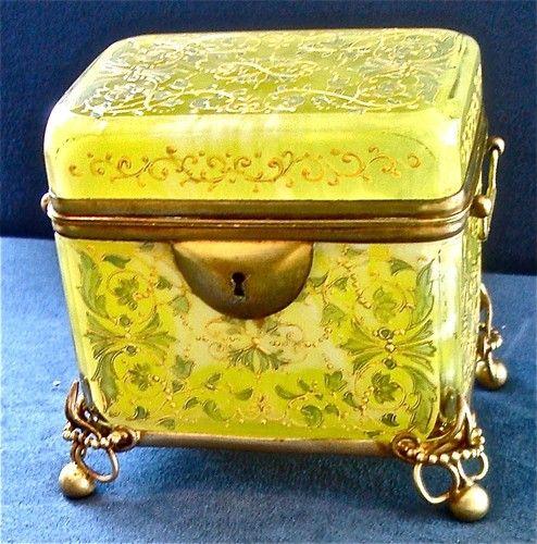 antique moser marbleized glass casket decorative enamel bronze mounts glas dosen. Black Bedroom Furniture Sets. Home Design Ideas