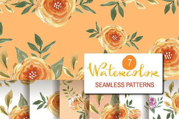 7Watercolor seamless patterns by TATIANA_GERICH on @creativemarket