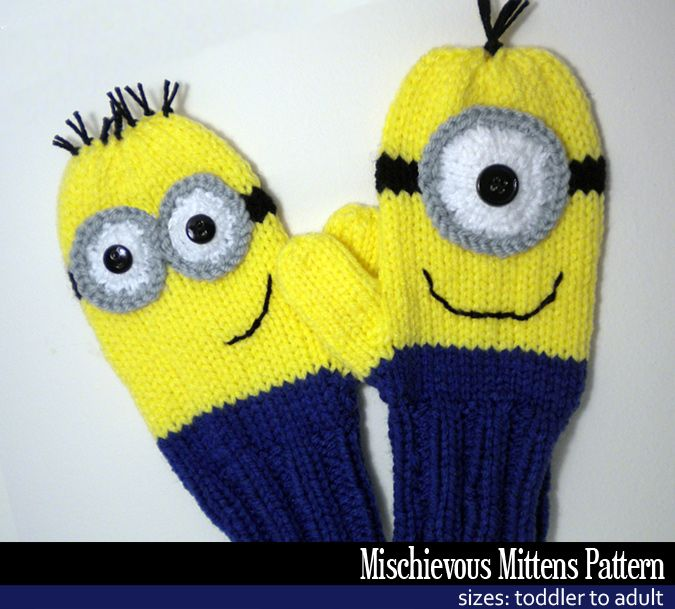 Mischievous Minion Mittens Knitting Pattern: Mischievous Minions, Crafts Ideas, Mischiev Minions, Knitting Patterns, Mittens Patterns, Knits Patterns, Janet Jameson, Minions Mittens, Mittens Knits