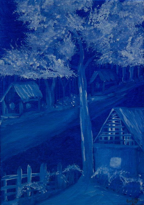 Night Landscape  Village in Blue  Original by RunePineStudio