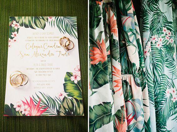 tropical wedding invitation: