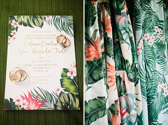 tropical wedding invitation: