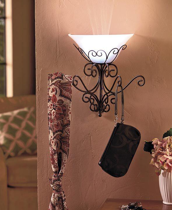 Wall Lamp with Coat Rack, Coat Racks, Wall Lamps, Battery Operated Lamps