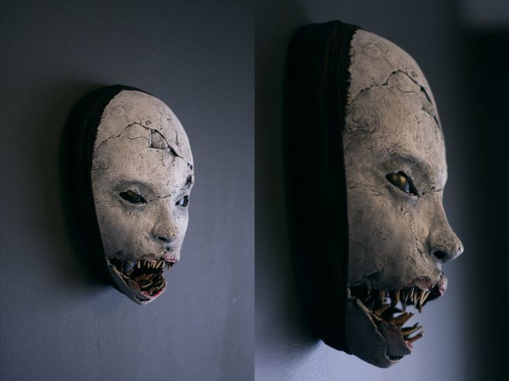 some masks are scary because of what they look like, what they portray - monsters, ghouls, etc. some masks are scary because of what they say about the mask-wearer (who is the assumed mask-maker) for example, leatherface has a mask made of human skin/faces. this mask is scary on BOTH levels.