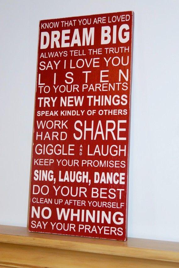 Family RulesDreams Big, Subway Art, Subway Signs, Rules Subway, Kids Room, Wood Signs, House Rules, Family Rules, Families Rules