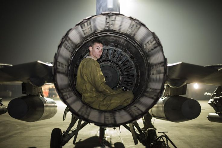 Senior Airman Daniel Lasal, a 455th Expeditionary Aircraft Maintenance Squadron crew chief, performs a post-flight inspection on an F-16 Fighting Falcon Nov. 15, 2016, at Bagram Airfield, Afghanistan.