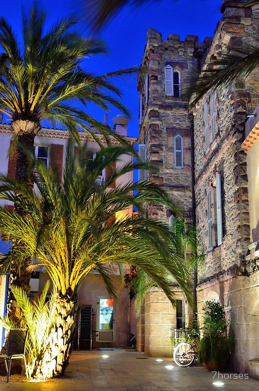 Village of Le Lavandou at night,  cote azur, var, provence, France by 7horses