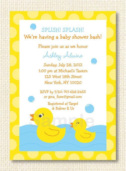 rubber ducky printable baby shower invitation