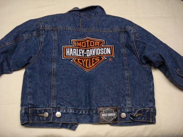 Harley-Davidson-Denim-Jean-Jacket-Size 4-Quilted-Lining-Brody Embroidered  #HarleyDavidson #JeanJacket #Everyday