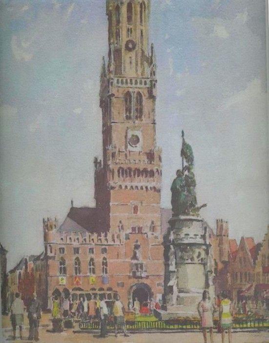 Groenplaats Antwerpen. Lithografie van Oudenaards kunstenaar Vandevyvere.
