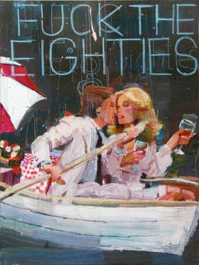 """Fuck the Eighties, Cabernet,"" original figurative painting by artist Alex Schaefer available at Saatchi Art #SaatchiArt"
