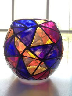 Geometric purple yellow and pink candle holder by SparkysGlassArt, $15.00