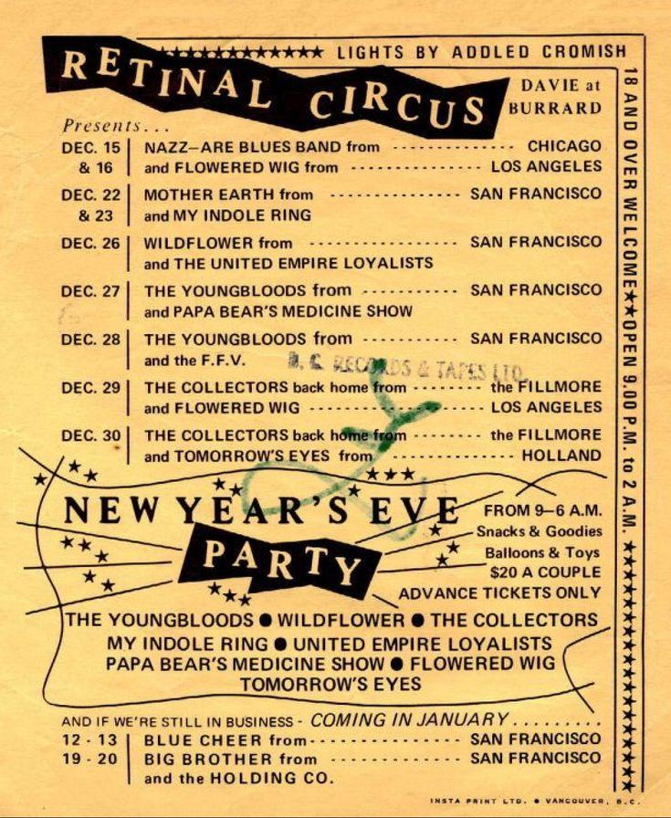 Retinal Circus schedule