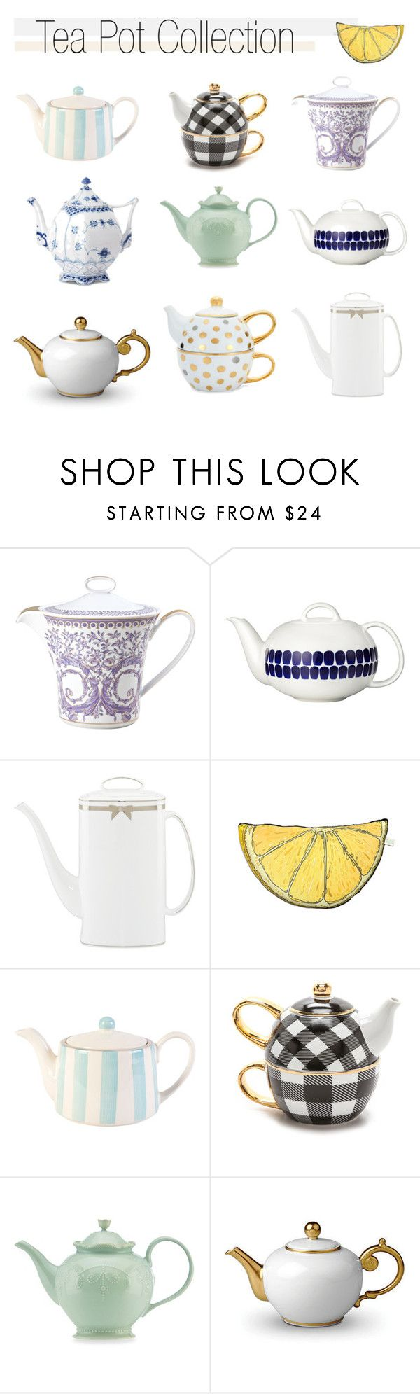 """Tea Time"" by southernpearldesigns ❤ liked on Polyvore featuring interior, interiors, interior design, thuis, home decor, interior decorating, Versace, Arabia, Kate Spade en Silken Favours"