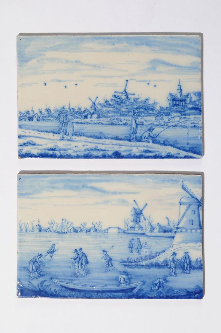 D8221. Pair of Blue and White Riverscape Plaques