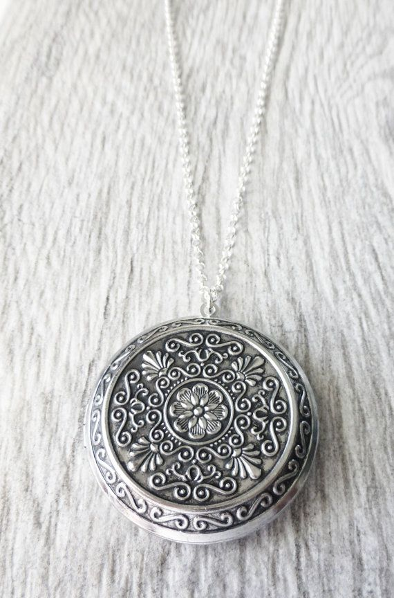 Large Locket Necklace Antique Silver Victorian Style Locket Sterling Silver Photo Locket Memories keepsake gift gifts Christmas - Jewelry by JBMDesigns on Etsy