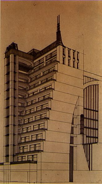 "TERRACED BUILDING W/ EXTERNAL ELEVATOR // ANTONIO SANT'ELIA // 1914 {Futurism} From designs for ""La Citta Nuova"" AKA ""Casa a Grinate"" Purification of Art Nouveau Dynamic with roots in pure forms Stepped building echoed in whole city design"