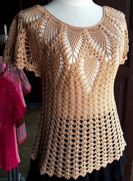 Patrón para tejer blusa a crochet con motivos piña, un punto muy apreciado por…