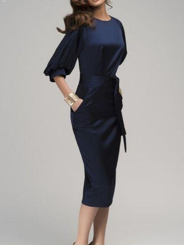 Navy Blue Belt Sashes Pockets Bodycon Elbow Sleeve OL Bussiness Classic Elegant  Cocktail Midi Dress 2c5c7f915
