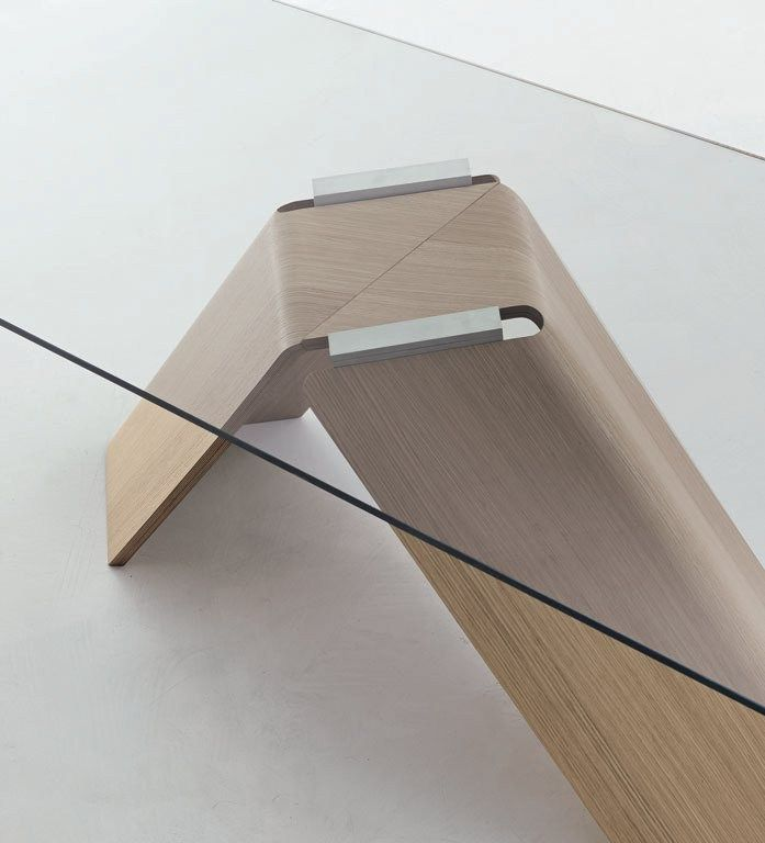 Rectangular Wood And Glass Table FOIL By ALIVAR Design Andrea Lucatello