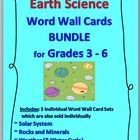 Earth Science Word Wall Cards Bundle This zipped file is a BUNDLE of 3 Science Word Wall Card Sets... Solar System, Rocks and Minerals and Weather