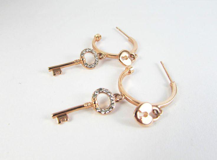 Rose Gold Plated 18K GP Crystal Heart Love Dangle Stud Earrings Women Jewellery